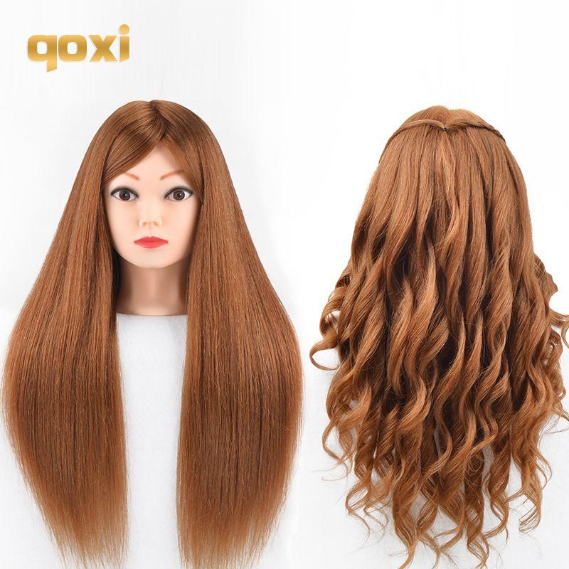 Qoxi têtes d'entraînement professionnel avec 60% vrais cheveux humains peuvent être courbés pratique mannequin de coiffure poupées style maniqui