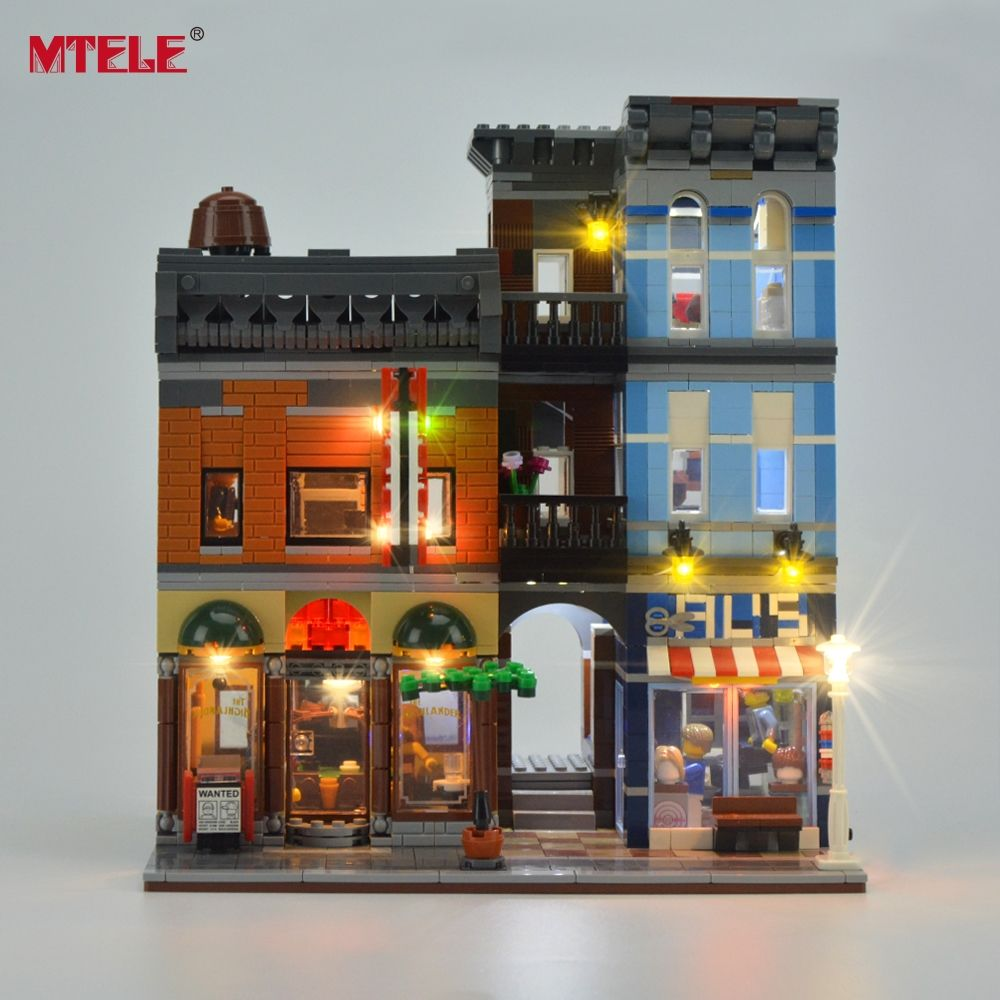 MTELE Brand LED Light Up Kit For Creator <font><b>City</b></font> Street Detective's Office Lighting Set Compatible With 10246 And 15011