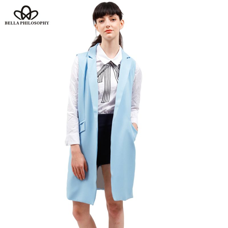 women vest spring jacket brand WaistCoat pockets open stitch sleeveless blue pink beige blazer colete <font><b>feminino</b></font>
