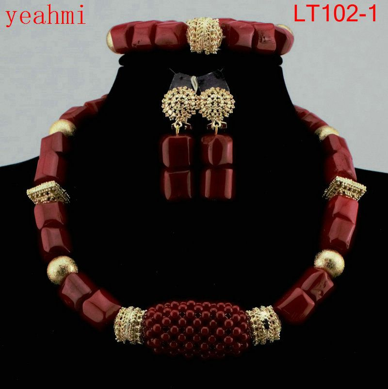 2018 New Genuine Coral Beads Necklace Jewelry Nigerian Wedding African Coral Beads Jewelry Set White Coral Beads Designs LT102-1
