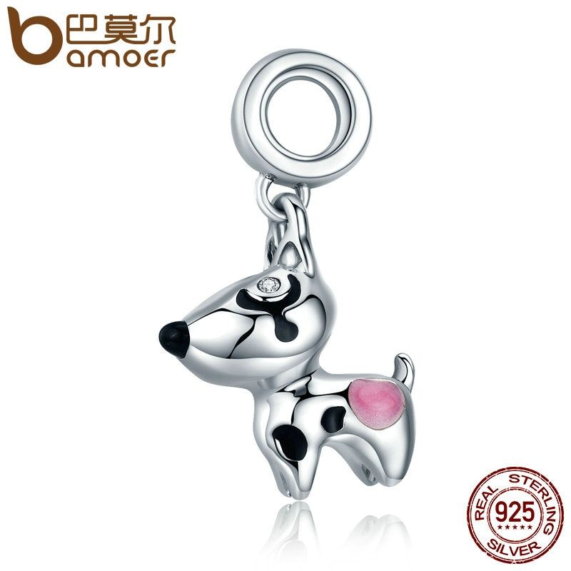 BAMOER Authentic 100% 925 Sterling Silver Cute Puppy Doggy Dog Animal Pendant Charms fit Bracelets DIY Fine Jewelry SCC417