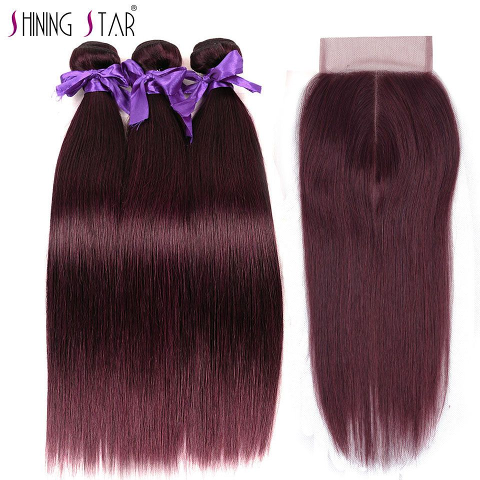 Red Burgundy Peruvian Hair Bundles With Closure Straight Human Hair 3 Bundles With Closure Shining Star Non Remy Hair Weave