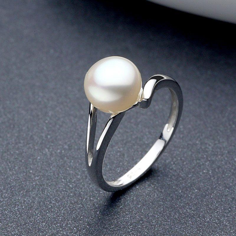 Sinya 925 Sterling Argent perle De Mariage Anneau Pour Les Femmes filles Amant perle dia 8mm design de mode bijoux bague de Fiançailles