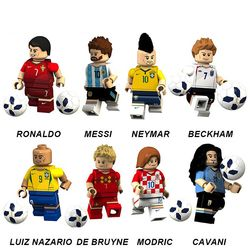2018 Legoing Batu Bata Sepak Bola Angka Tim Pogba Ronaldo Messi Ibrahimovic Beckham Neymar JR Ozil Model Blok Bangunan Mainan Anak
