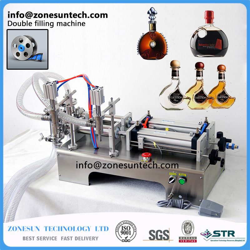ZONESUN auto Filling Machine 10-300ml Horizontal Pneumatic double head essential oil filling machine, perfume filling machine