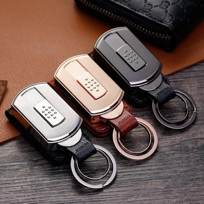 New Top Car Key Chain Men Women Brand Charging tungsten wire cigarette lighter Key Holder Car Key Ring Metal High K1147