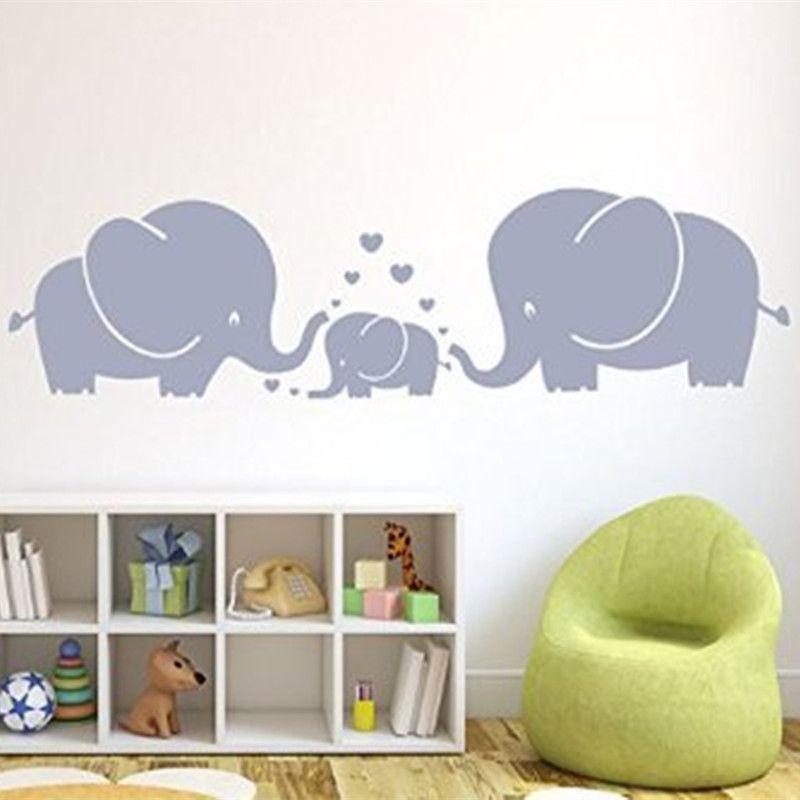 Trois Éléphants Mignons les parents et l'enfant Famille Avec Coeur Mur stickers muraux Nurseries stickers Décoration Mur Art Autocollants pour Chambre D'enfants décor