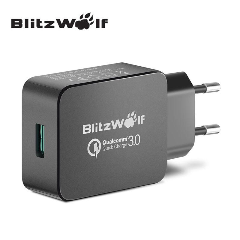 BlitzWolf QC3.0 certifié 18W USB chargeur adaptateur ue avec technologie Power3S pour Xiaomi pour Samsung Chagers pour iPhone