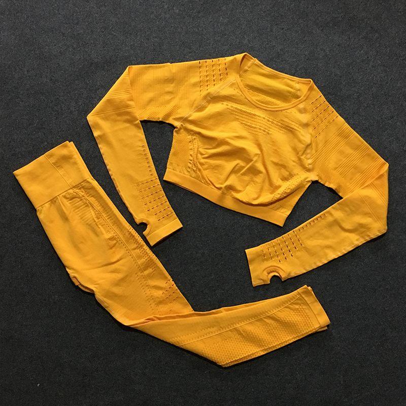 2 pièces gym ensemble entraînement vêtements pour femmes impeccable tricot manches longues compression haut court + sans couture leggings yoga 2 pièces ensemble combinaison sport femme