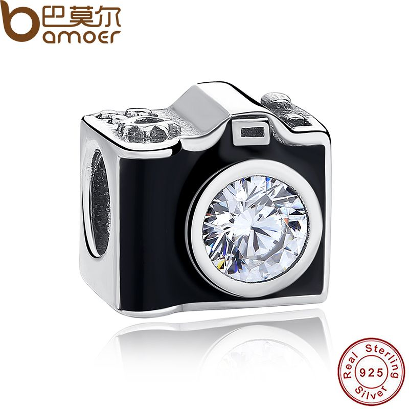 Original 925 Sterling Silver Sentimental Snapshots Camera Charm Fit  Bracelet & Necklace Black Enamel DIY Jewelry PAS182
