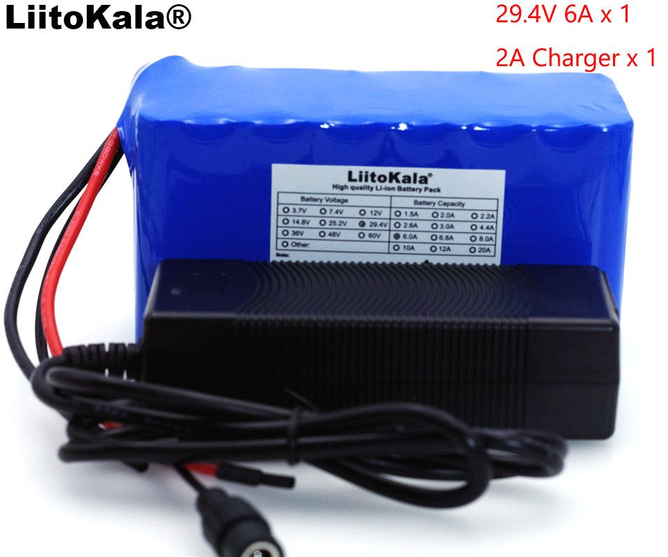 LiitoKala 24 v 6Ah 7S3P 18650 Batterie 29,4 v 6000 mah BMS Elektrische Fahrrad Moped/Elektrische/Li ion batterie Pack + 29,4 v 2A Ladegerät