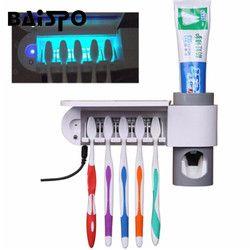 2 en 1 luz ultravioleta UV dientes Esterilizadores cepillo de dientes automático Exprimidores de pasta de dientes dispensador baño en casa