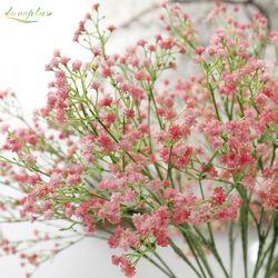 80 mini jefes 1 unid DIY flor de la respiración del bebé Artificial Gypsophila falso silicona planta para la boda decoraciones del partido 8 colores