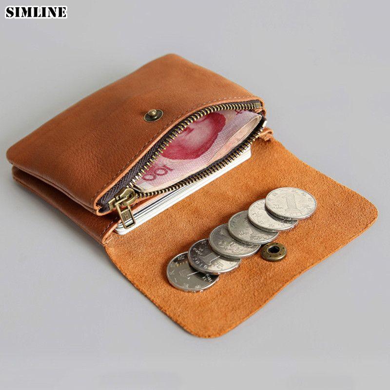 SIMLINE cuir véritable hommes portefeuille hommes femmes Vintage court petit Mini portefeuilles porte-monnaie porte-carte fermeture éclair poche Carteira