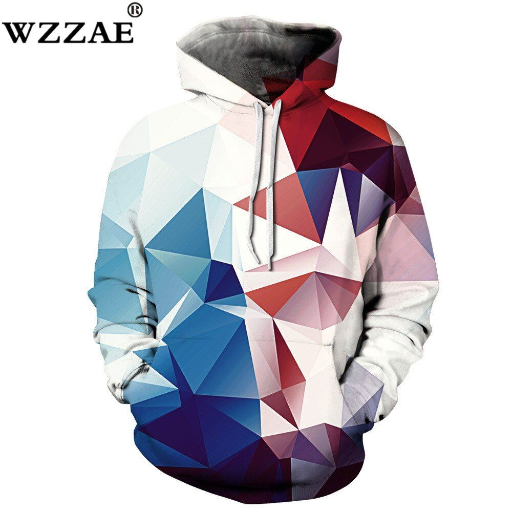 2018 New Fashion 3d Hooded Sweatshirt Ancient Lion <font><b>Triangle</b></font> color blocks print Men/Women Galaxy Wolf Hoodies Sweatshirts