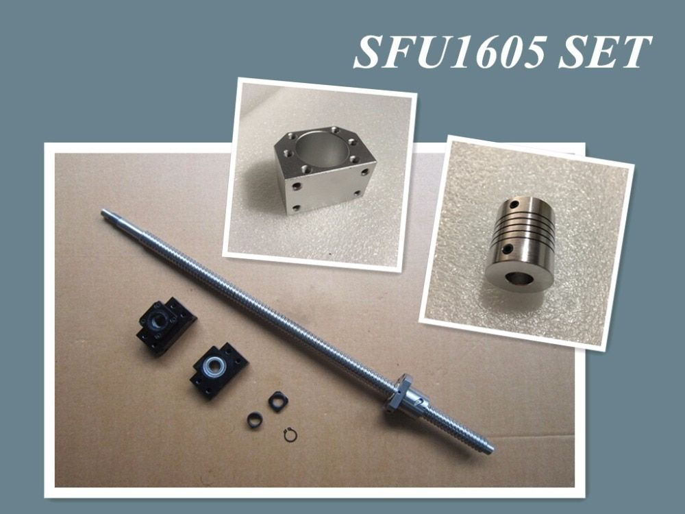 1set SFU1605 1500mm rolled ball screw C7 with end machined + 1605 ball nut + nut housing+BK/BF12 end support + coupler RM1605