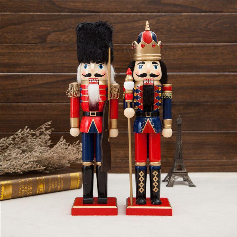 2 pièces 38cm belle Original bois casse-noisette Soilders Vintage décoration de la maison accessoires cadeau de noël casse-noisette artisanat