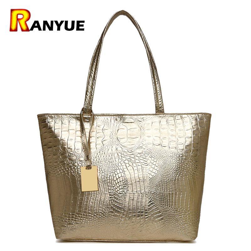 Marque décontracté femmes sacs à bandoulière argent or noir Crocodile Sac à main en cuir PU femme grand Sac fourre-tout dames sacs à main Sac