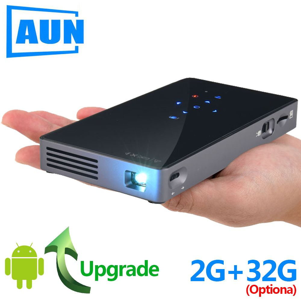 AUN MINI projecteur D5S, Android 7.1 (en option 2G + 32G) WIFI Bluetooth, projecteur à LED portable, projecteur 3D pour Home Cinema 1080 P