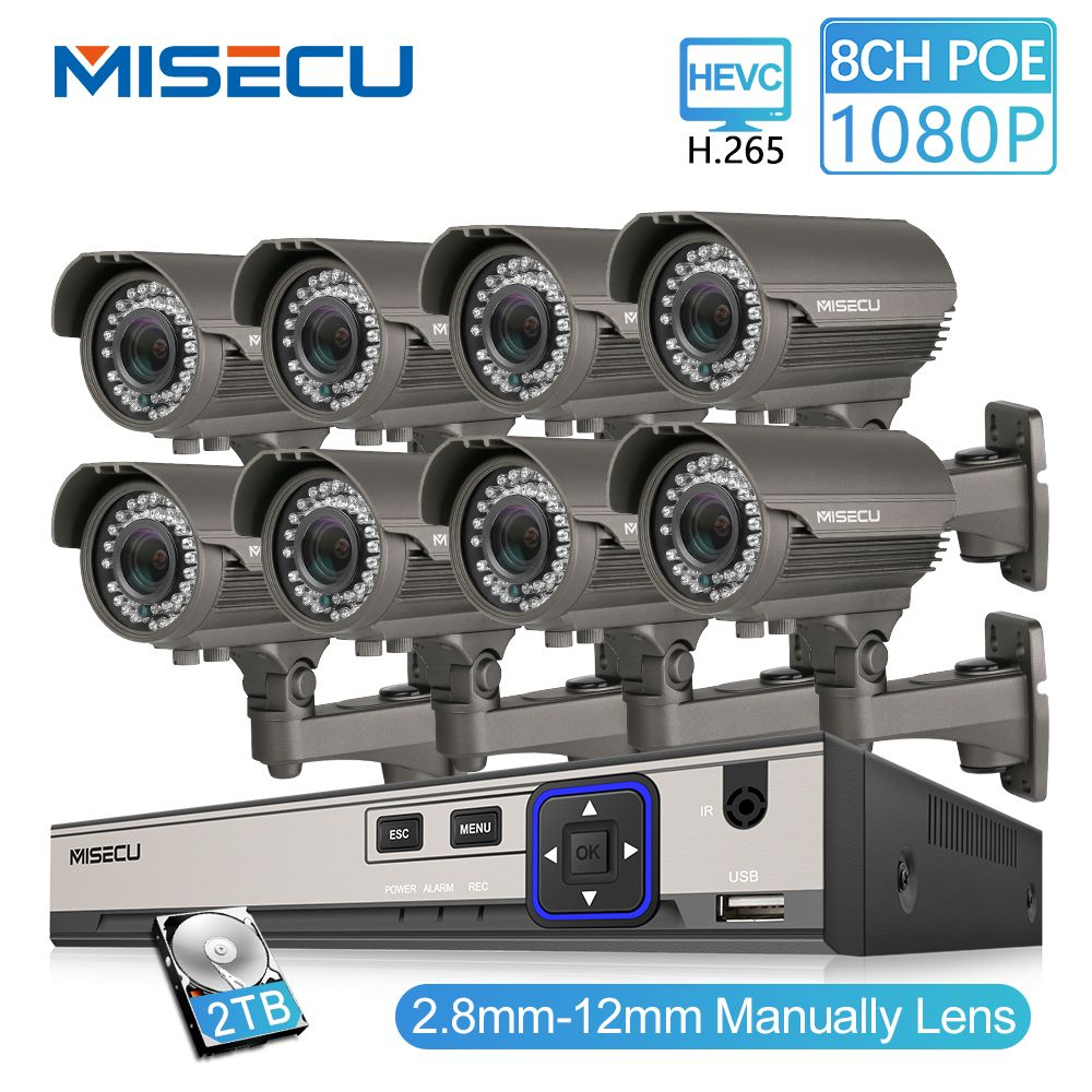 MISECU 2MP CCTV Camera System 8CH POE NVR 1080P 2.8-12mm manual Lens 3000TVL POE IP Camera Waterproof Security Surveillance Kits