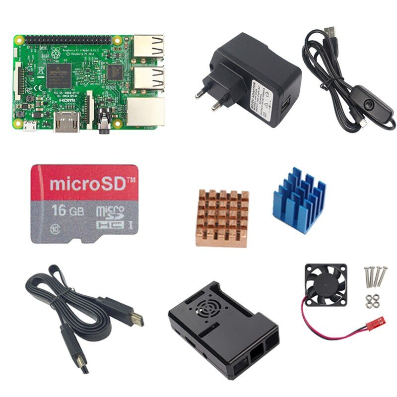 RS Raspberry Pi 3 Model B+16G TF SD+5V 2.5A Power Adapter with Switch Cable+ Pi 3 ABS Case + Heat Sink + 1.5M HDMI Cable