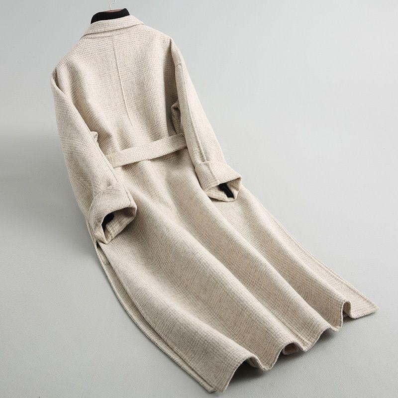Wool coat women's jacket jaqueta thick plaid woolen coat women's double-faced woolen coat women's long section design Big size