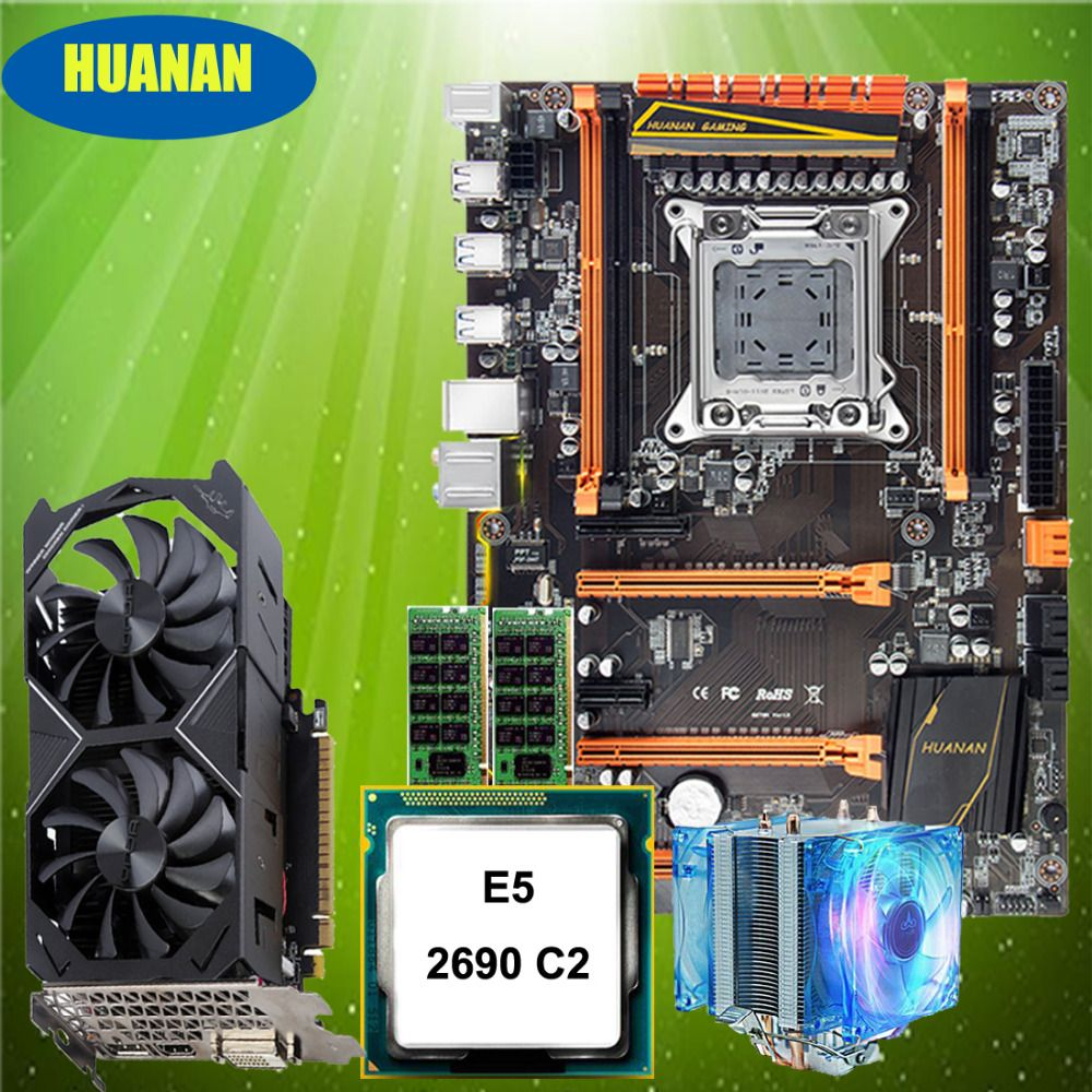 HUANAN ZHI deluxe X79 motherboard with M.2 NVMe slot CPU Xeon E5 2690 C2 with cooler RAM 16G(2*8G) RECC GTX1050Ti 4G video card