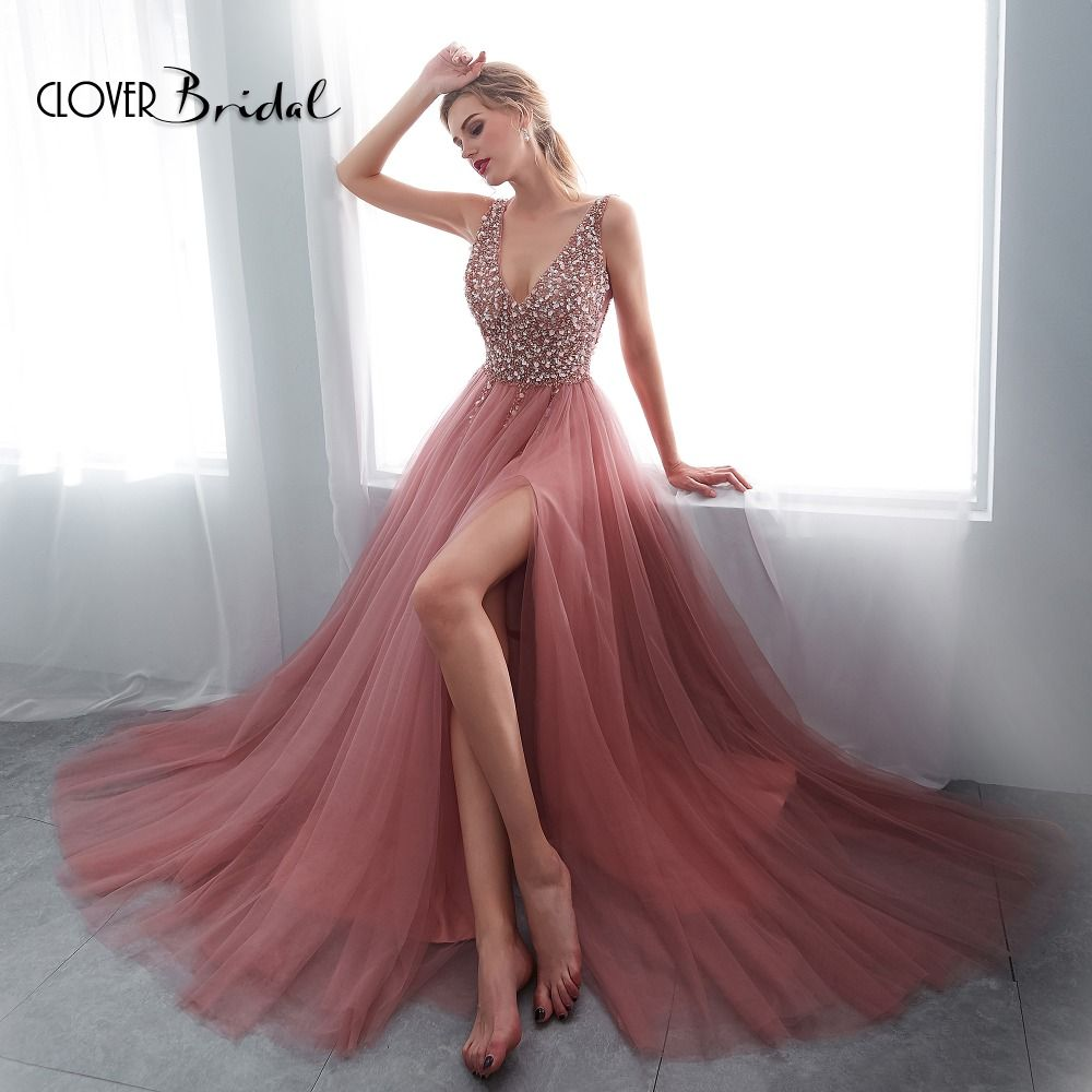 CloverBridal 2018 sommer charming stones pailletten perlen perlen V neck Hohe Slit A-line Lang Weiche Bean Abendkleider