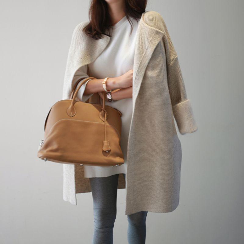 Korean <font><b>Autumn</b></font> Spring Long Cardigan Female Open Stitch Loose Long Sleeve Knitted Cardigans Sweater Women Cardigan Feminino