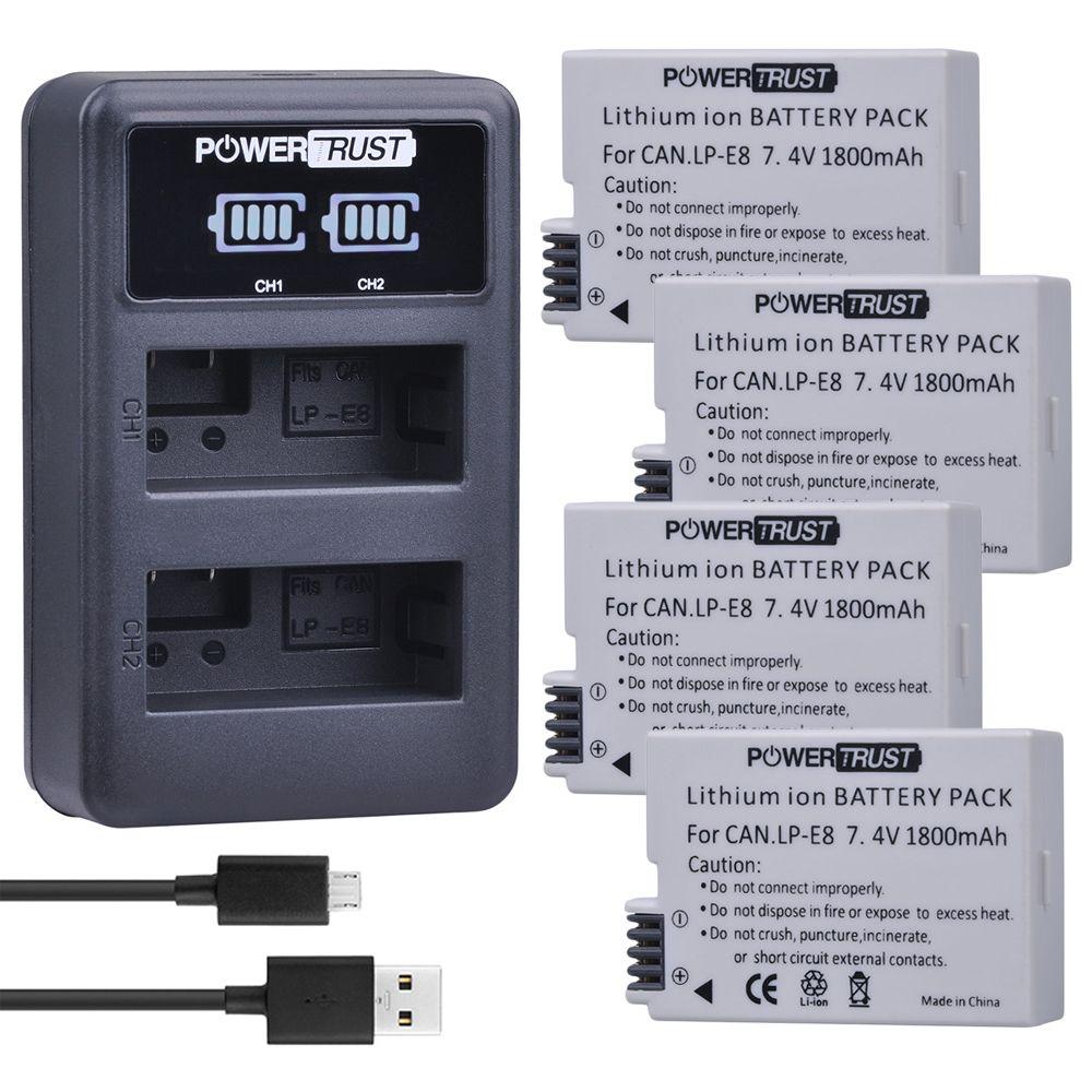 Powertrust 4Pcs 1800mAh LPE8 LP-E8 LP E8 Battery + LED USB Dual Charger For Canon EOS 550D 600D 650D 700D X4 X5 X6i X7i T2i T3i