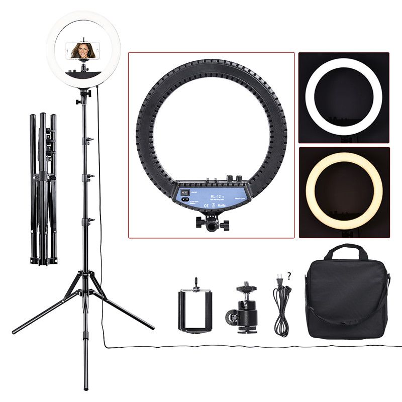 fosoto RL-12II 3200K-5500K Dimmable Photography Studio Led Ring Light Lamp Tripod Stand For Camera Photo Studio Phone Video