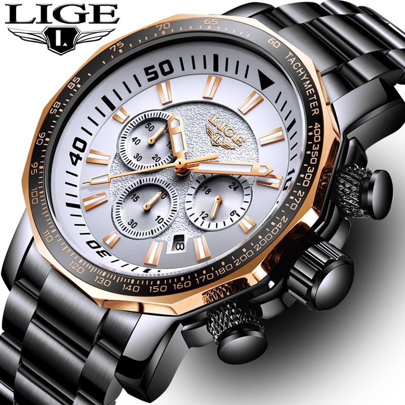 Relogio Masculin Mens Watches Big Dial Military LIGE Chronograph Top Brand Luxury Fashion Men Waterproof Sport Quartz Wristwatch