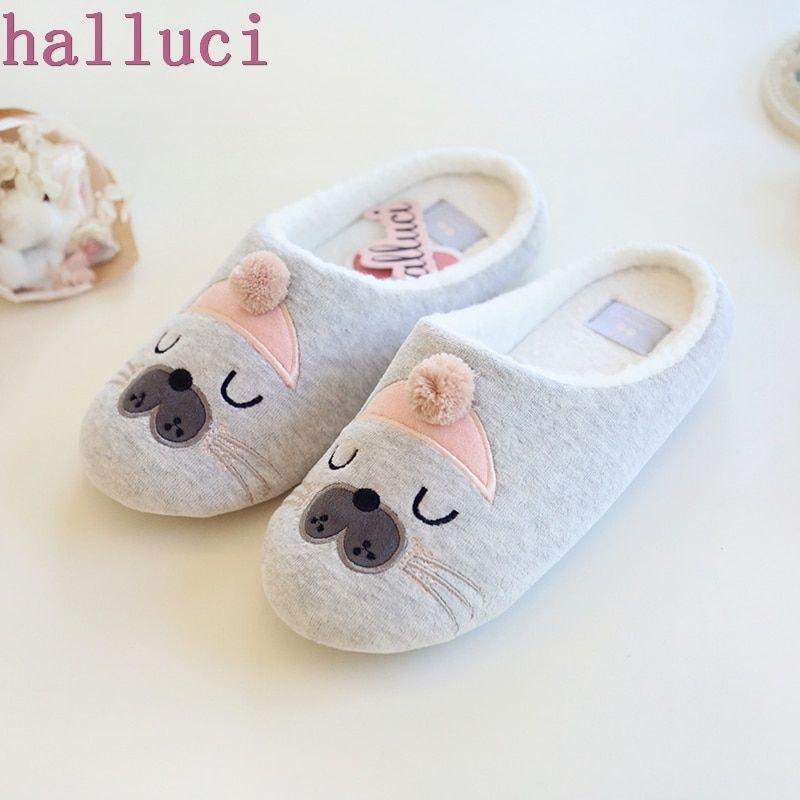 Cute Animal Pattern Cotton Home Slippers Women Indoor Shoes For Bedroom House Warm Winter Soft Bottom Flats