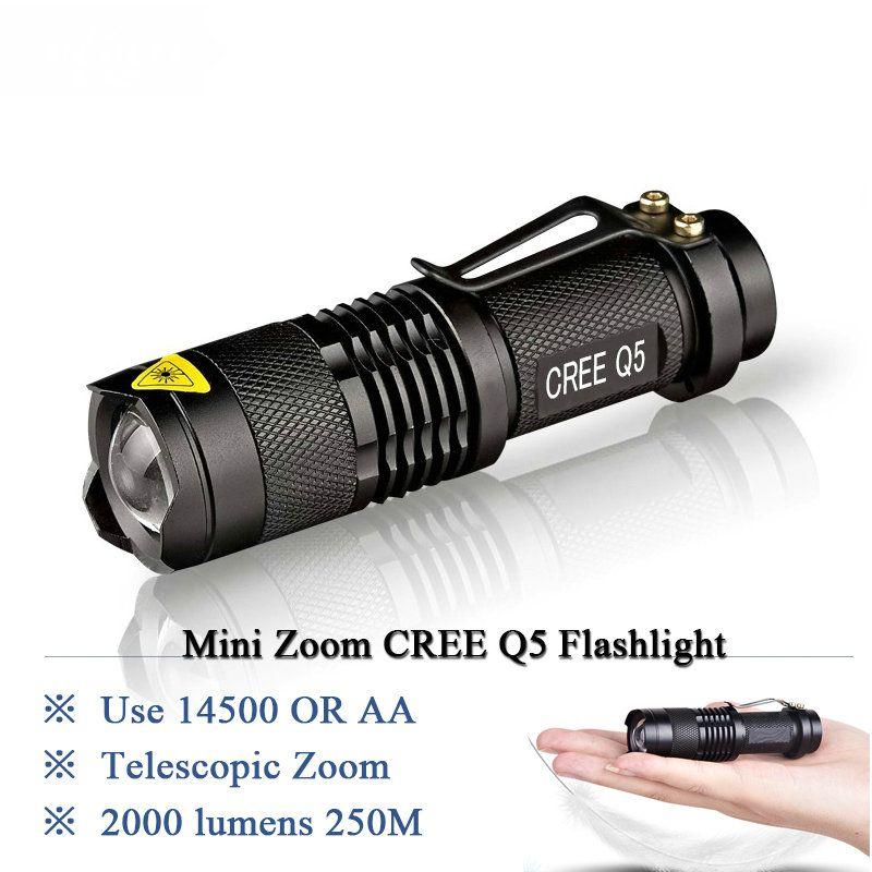 Мини Перезаряжаемые светодиодный фонарик CREE Q5 Lanterna высокое Мощность фонарик 2000 люмен Масштабируемые тактический пальчиковые Linterna велосип...