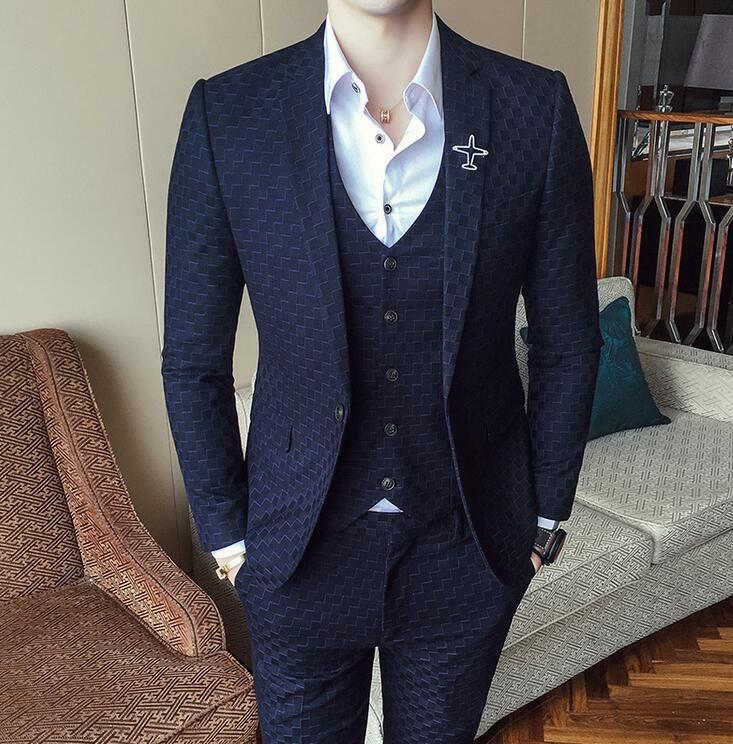Neue Anzüge Für Männer 3 Stück Hochzeit Anzug Herbst Winter Vintage Plaid Anzüge Für Männer Kostüm Homme Slim Fit Swallow gird Anzug