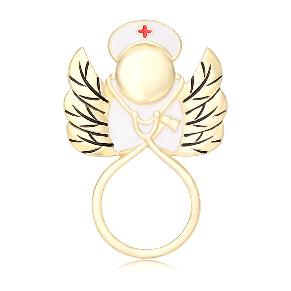 Hot Sale Gold Cardiogram Stethoscope Angel Nurse Magnetic Eyeglass Pin Brooch Glasses Spectacles for RN Graduation Gift Brooch