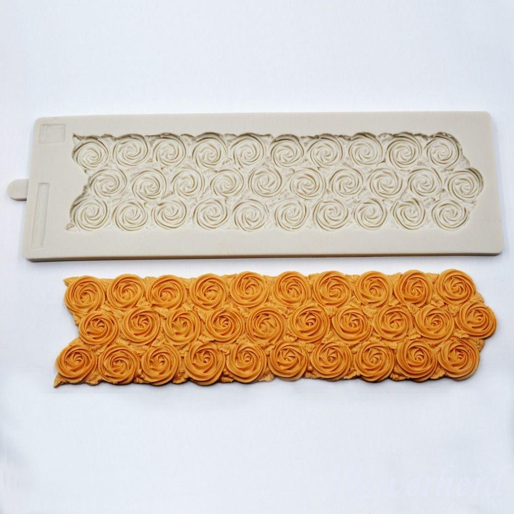 37x12 cm Blume Swirl Grenze Muster Silikon Form Spitze Rose Form Fondant Hochzeit Kuchen Dekoration Süßigkeiten Back Werkzeuge