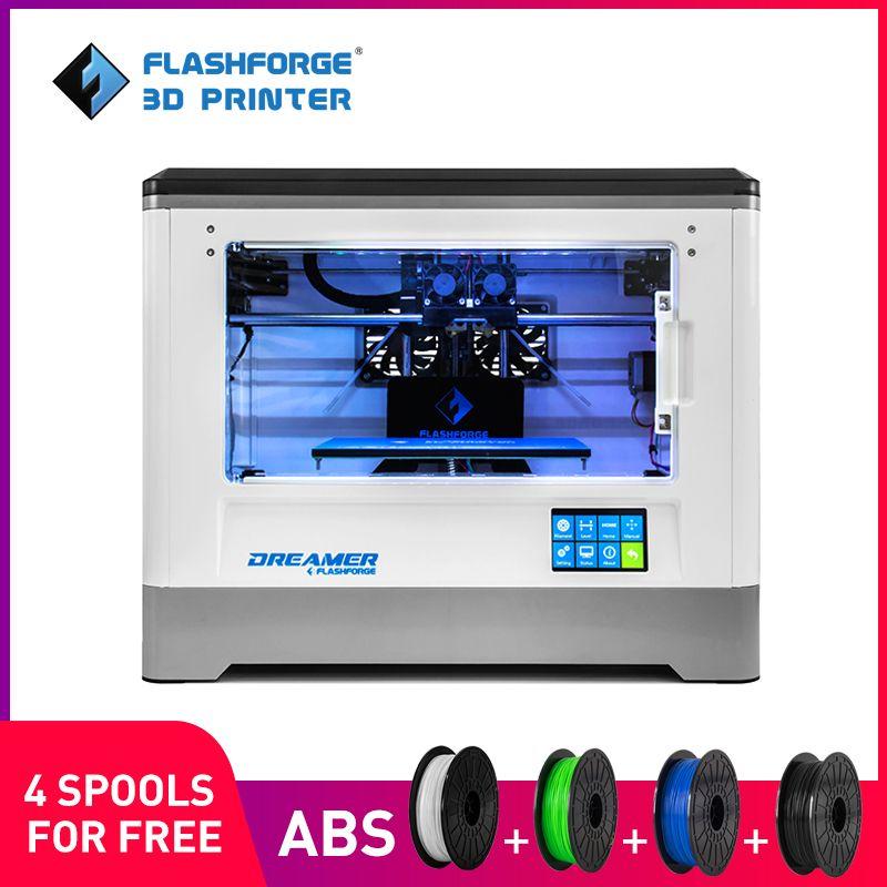 Flashforge 3D Printer 2018 FDM Dreamer Dual color print WIFI and touchscreen W/2 Spool Fully Assembled 3D Drucker
