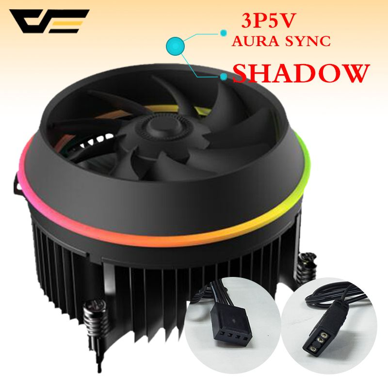 darkflash shadow CPU Cooler AURA SYNC 3p-5V TDP 280W PWM 4pin Double Ring LED RGB Fan Radiator Cooler for intel LGA 115x