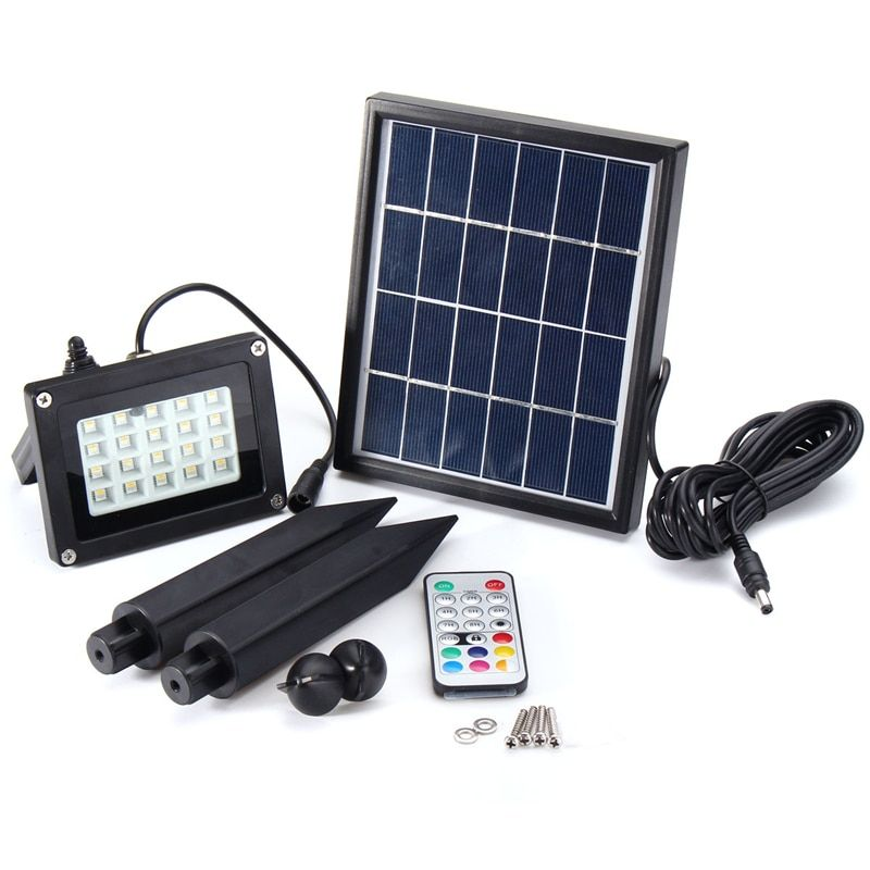 3.7V RGB LED Flood Light Solar Powered with Color Change Remote Control Outdoor Garden Landscape Security Lamp IP65