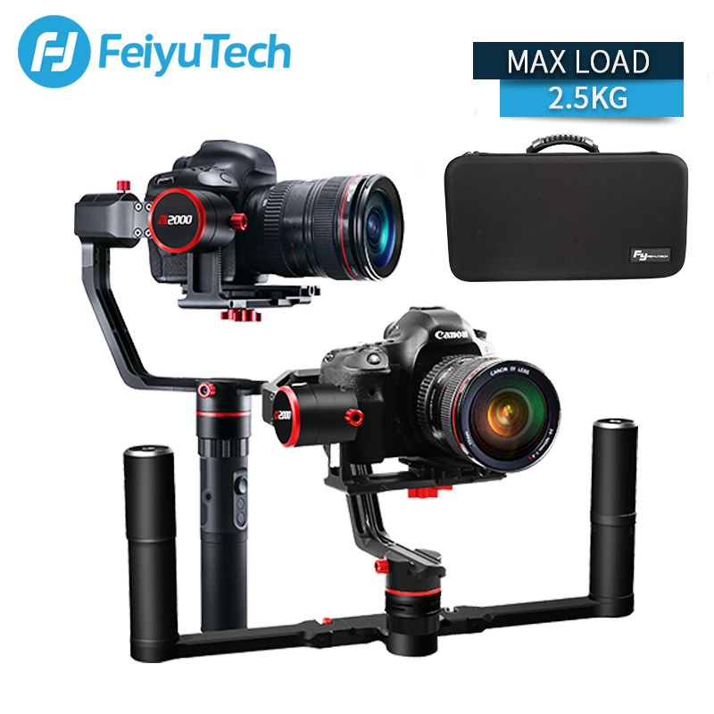 FeiyuTech a2000 3 Axis Gimbal DSLR Camera Stabilizer Dual Handheld Grip for Canon 5D SONY Nikon 2000g Payload Bluetooth with bag
