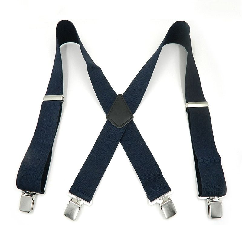 Newly Men Suspenders Solid Color X-Back Trousers Braces With Strong 4 Clip 5cm Wide Casual Man's Braces Strap