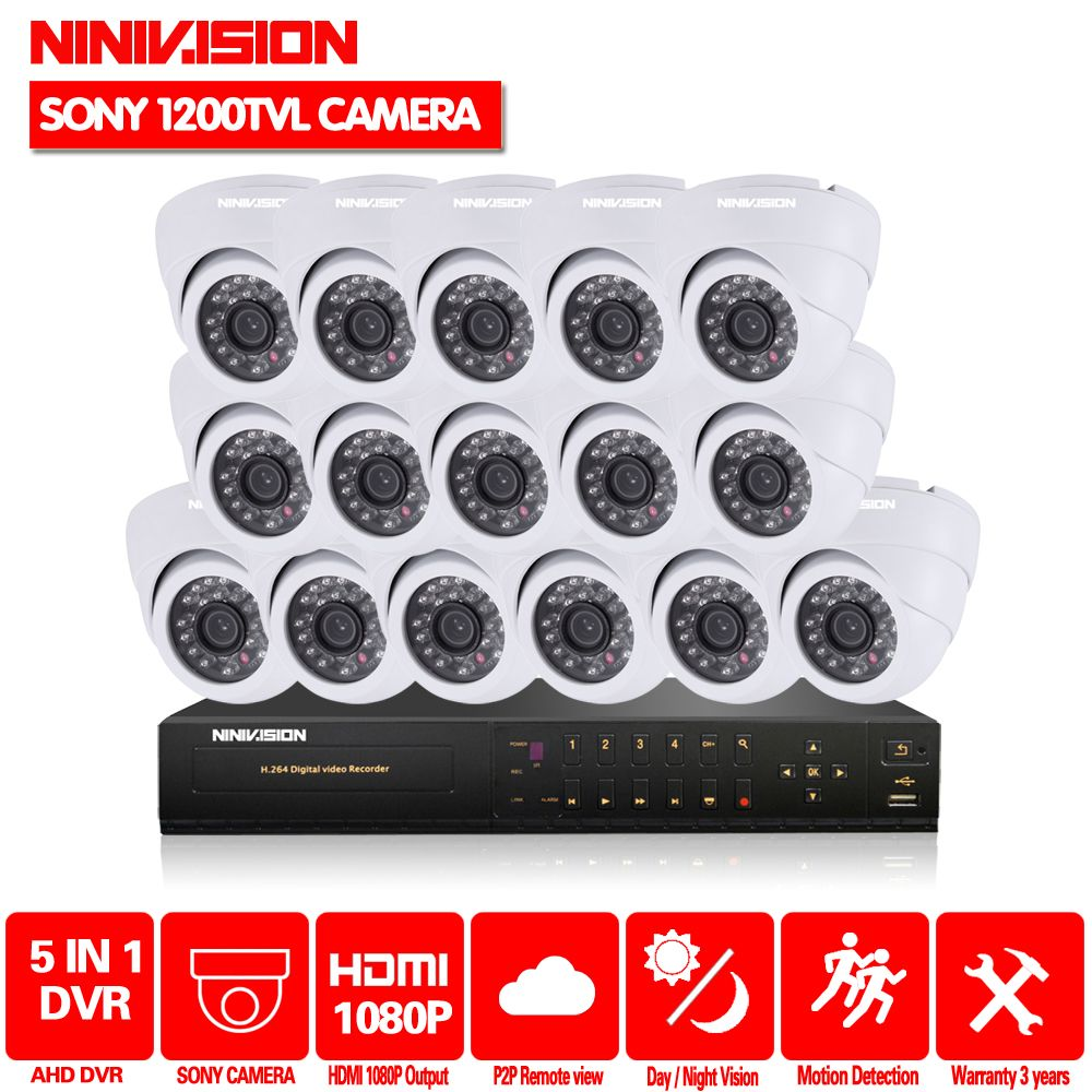 HD Video Surveillance System 16 channel CCTV AHD 1080P DVR 1/3