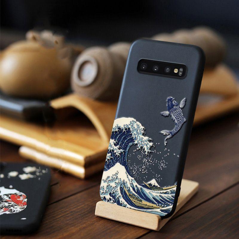 Pour Samsung Galaxy S10 Plus S10e e Note 10 Plus 5G étui 3D Relief mat couverture souple LICOERS étui officiel pour Galaxy S10 + Funda