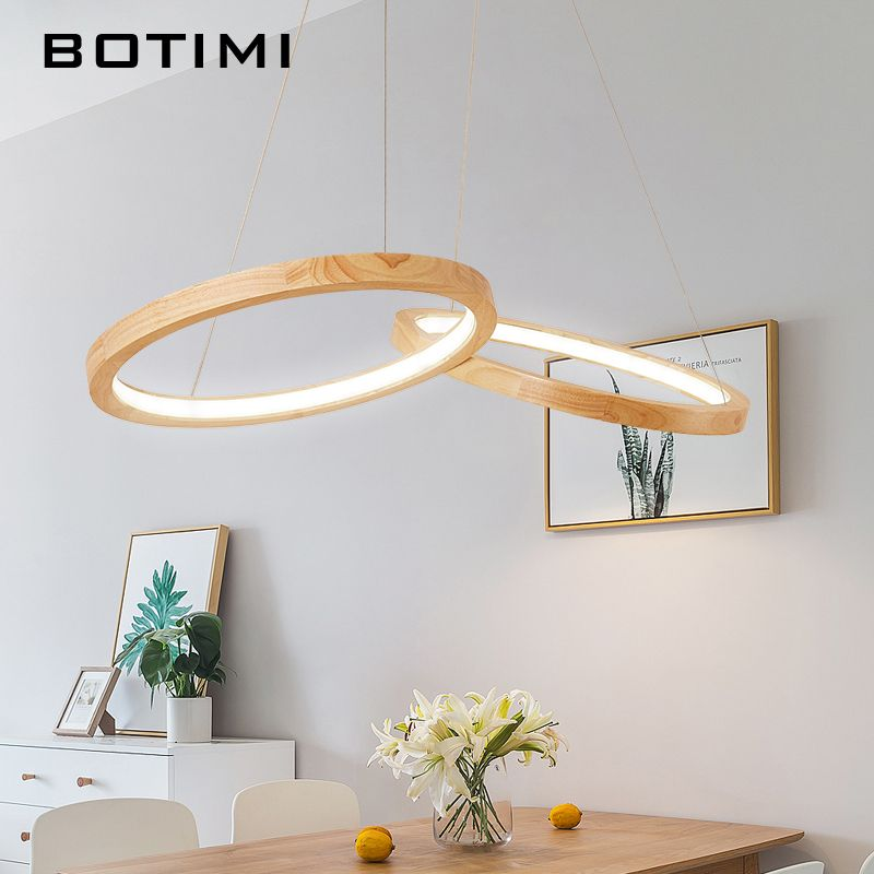 BOTIMI Wooden LED Pendant Lights For Dining Room two Wooden Round Lustre Wood Kitchen Luminaire Kitchen Hanging Lamp