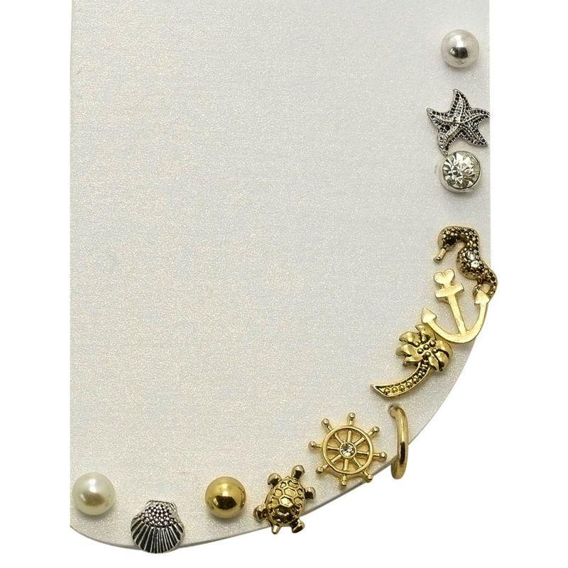 (12 Teile/satz) ozean Kollektion Imitation Perle Schildkröte Shell Sea Horse Starfish Anker Kleine Ohrstecker Set Für Frauen Mädchen