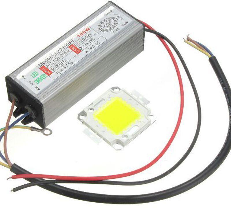 Épi de puce intégré par lampe à LED de la puissance élevée 100 W avec la Driver étanche LED pour le projecteur de conducteur de éclairage LED de bricolage