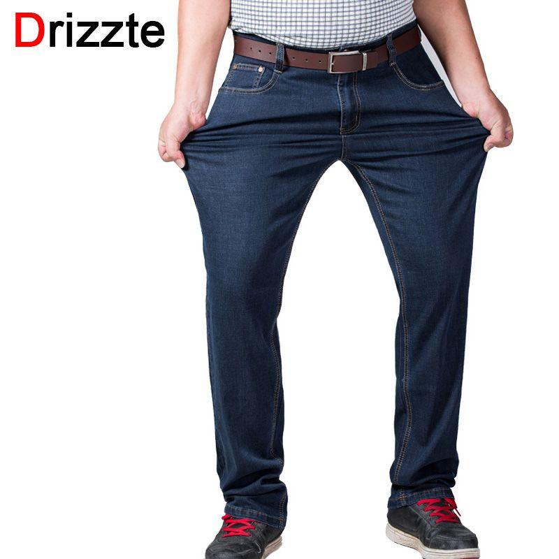 Drizzte Mens Big And Tall высокого стрейч плюс Размеры 36 до 52 Джинсы для женщин деним Бизнес расслабиться Мотобрюки Брюки для девочек темно-синий