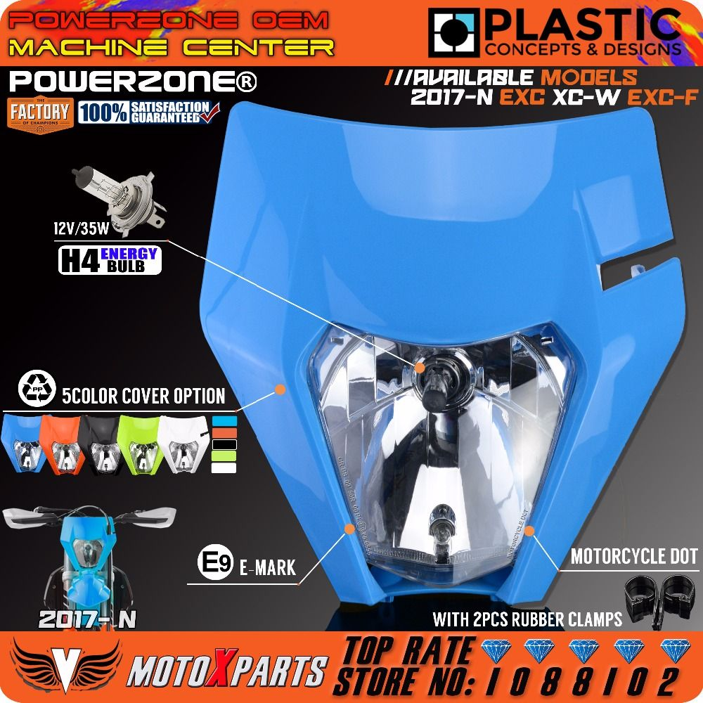 POWERZONE TLD Flu Blue Limited Edition Motorcycle Headlight Headlamp For KTM EXC XC W SX F Enduro MX Dirt Bike Motocross 2017-18