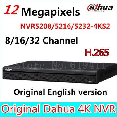 Original DaHua 4K Video Surveillance NVR NVR5208-4KS2 NVR5216-4KS2 NVR5232-4KS2 8/16/32 Channels H.265
